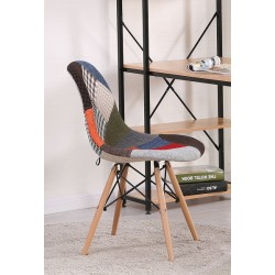 Silla TOWER-PAT, madera, tejido patchwork