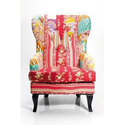 Butaca Wing Chair Patchwork Rojo
